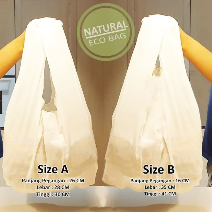 Foto Produk Tas Reusable Bag Baggu Natural / Tas Reusable Blacu ( Min 10 Pcs ) - Putih, A dari Toko Brukat