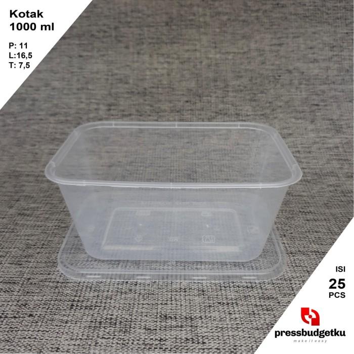 Foto Produk kotak makan / tempat makanan / wadah plastik 1000 ml +tutup dari press budgetku