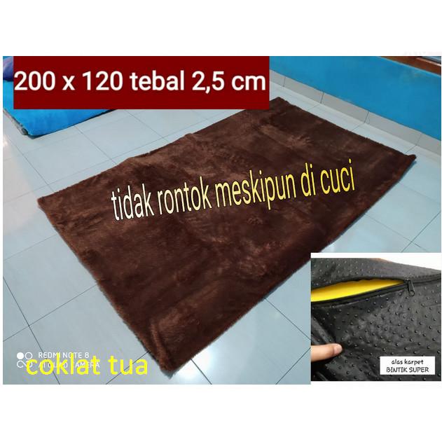 Foto Produk karpet Lantai bulu lembut dan halus /tikar uk 200x120x2cm - hitam dari BROUMmedia