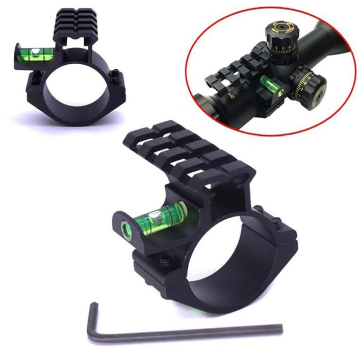 Foto Produk WATERPASS SCOPE MOUNTING RING WATER PASS PICATINNY + ADAPTER RING 25mm dari DO OFFICIAL STORE