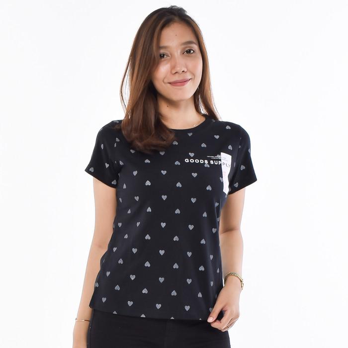Foto Produk METALIZER 3197 T-Shirt Casual Kaos Wanita Lengan Pendek Premium - Hitam dari teetimeid