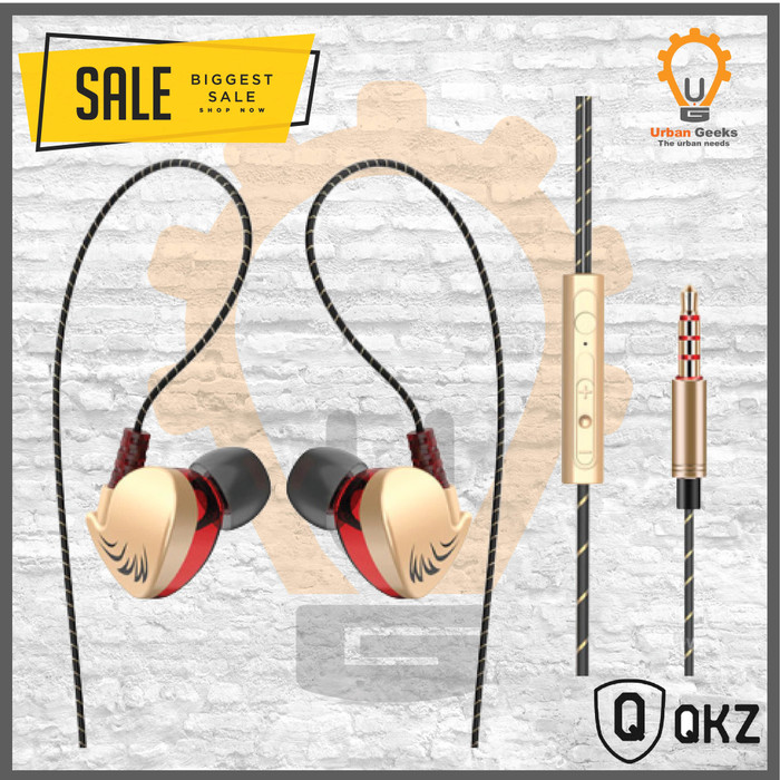 Foto Produk HIFI QKZ CK7 In Ear Earphone Stereo Race Sport Headset Alt ck5 zircon - Gold dari Urban Geeks