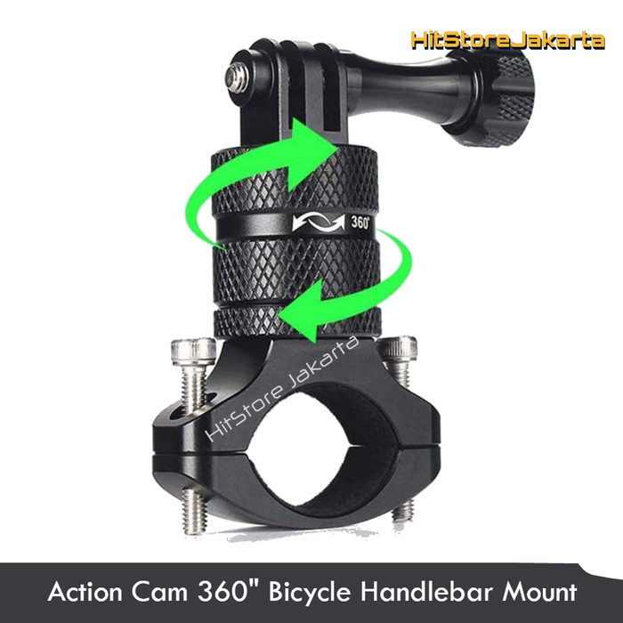 Foto Produk Bike Handlebar Mount Sepeda 360 Aluminum GoPro Bike Mount Action Cam - Hitam dari HitStore_Jakarta