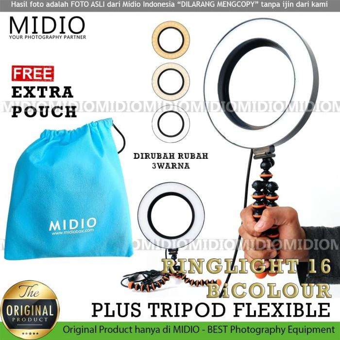 Foto Produk Ring Light 16cm Midio BiColor Plus Gorilla Tripod RingLight Selfie dari Midio