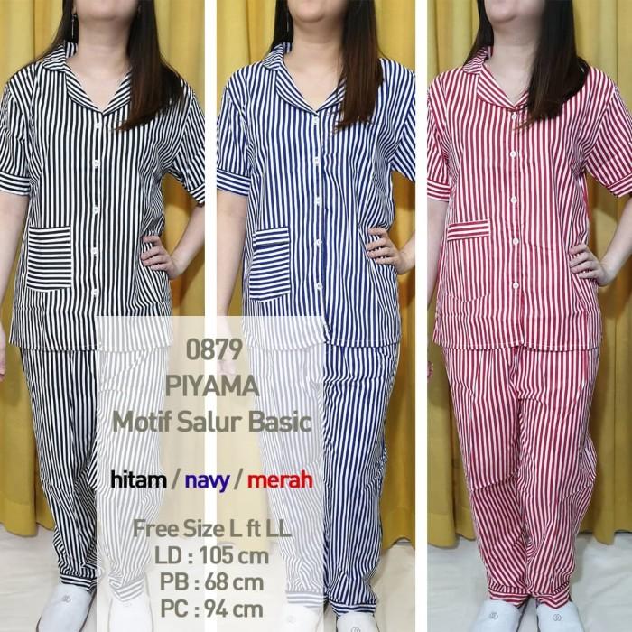 Foto Produk Piyama Set Baju Tidur Wanita Salur Basic Katun Japan CP XLCP 0879 - Merah, Standard dari Millen Collection