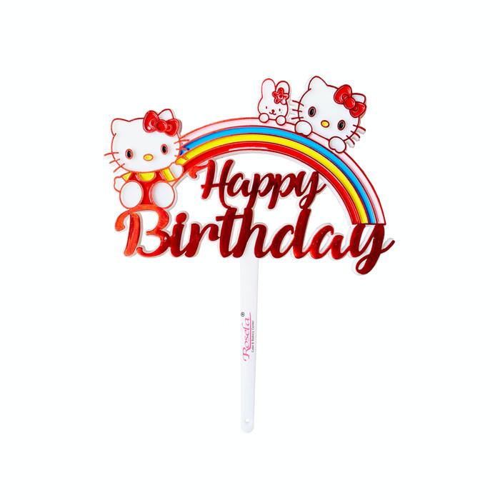 Jual Cake Topper Happy Birthday Hello Kitty Topper Kue Happy Birthday Kota Palembang Rosela Cake Bakery C Tokopedia