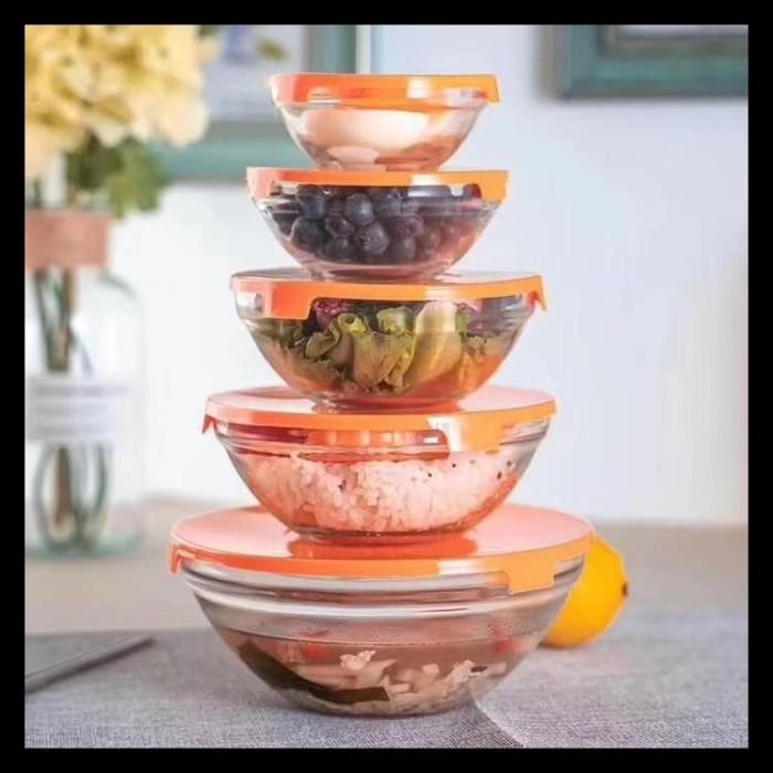 Foto Produk Glass Bowl Set / Fresh Bowl kaca / mangkuk microwave glass bowl - Orange dari cellis Supplier Jakarta