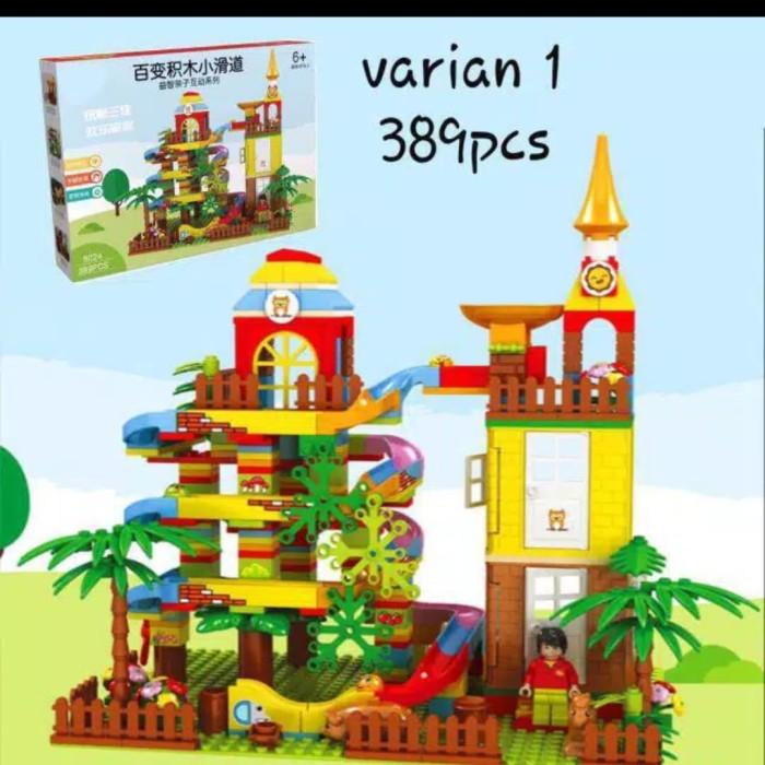 Foto Produk Mainan anak susun legoo brick set Tower+rail bola seluncuran 389pcs dari AUTO KID II