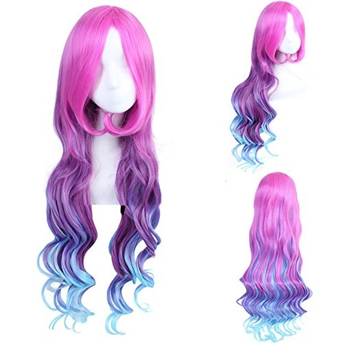 Jual Aogsy Aogsy Curly Wigs Lol Arcade Miss Cosplay Red And Blue Hair Long Jakarta Utara Exborders Tokopedia