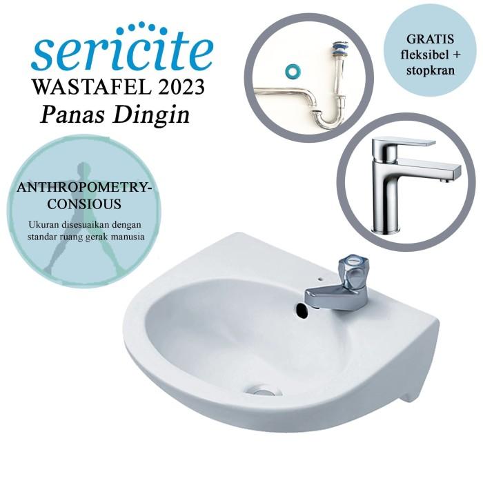 Foto Produk Wastafel Gantung Sericite 2010 + Keran Kran Air Panas Dingin + Sifon dari serisaito