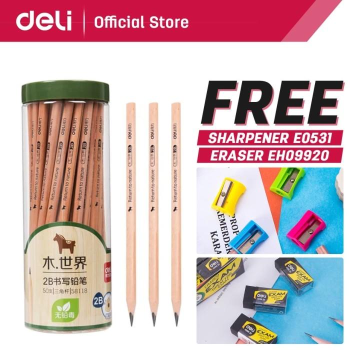 Foto Produk Deli Pensil kayu/ Pencil - 2B 50pcs/tabung - Sudah diasah 58118 dari Deli Stationery