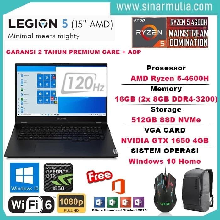 Foto Produk LENOVO LEGION 5 RYZEN 5-4600H 16GB 512GB GTX1650 4GB 120Hz Win10+OHS dari Sinarmulia Sukses Makmur