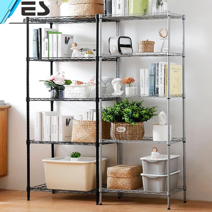Foto Produk ES Rak penyimpanan 5 tingkat rak penyimpanan rak serbaguna rak Hitam - Hitam dari ES Official Store