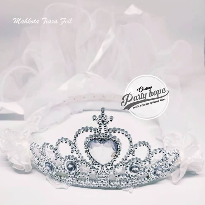Foto Produk Mahkota Tiara Pengantin PUTIH Mahkota Bridal Shower Set Bando dan Veil dari PARTY HOPE 2