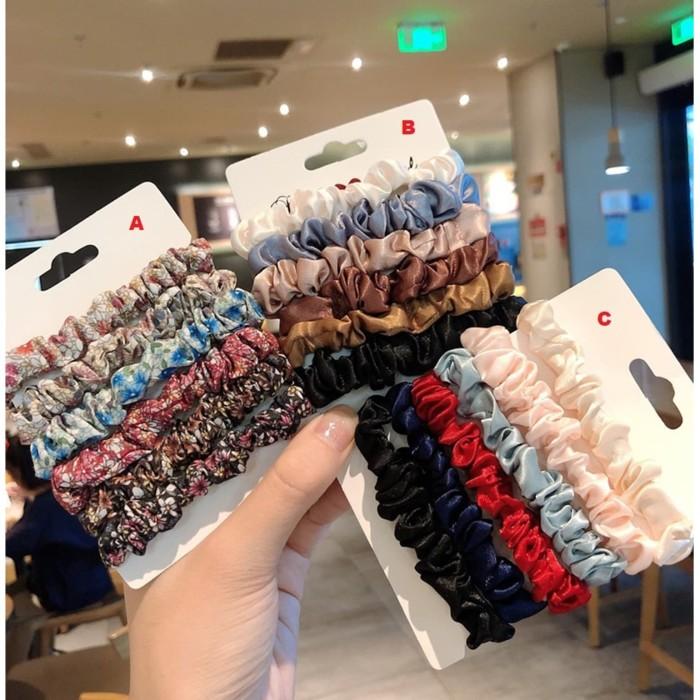 Foto Produk IK23 Ikat Rambut Scrunchie Korea Set 6 Pcs - Korea B dari EnnWen Online Store