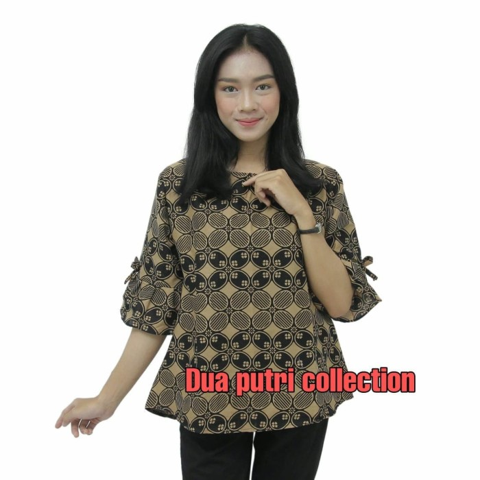 Foto Produk Blouse Batik Atasan Batik Wanita Seragam Kantor S-M-L-XL-XXL-3L-4L-5L - S dari BATIK DUA PUTRI