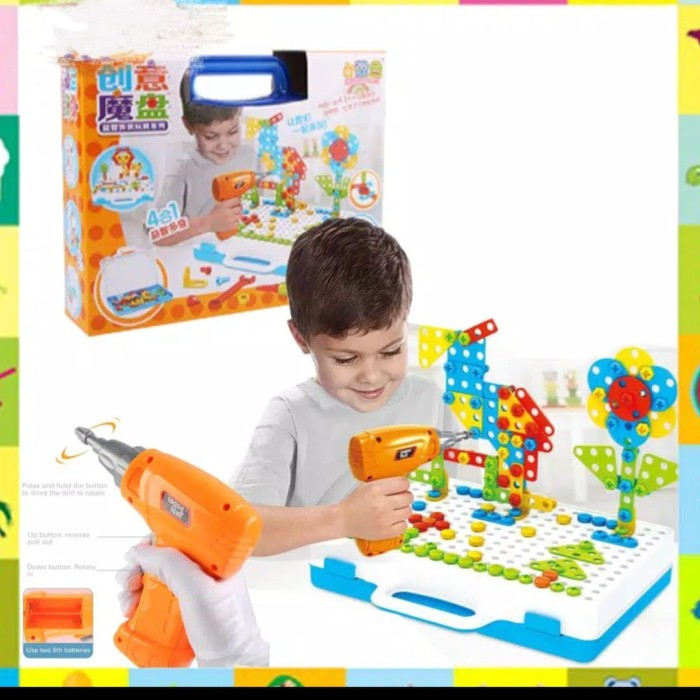 Foto Produk Mainan anak Screw puzzle bor 4in 1 Mosaic creative 237pcs dari AUTO KID II