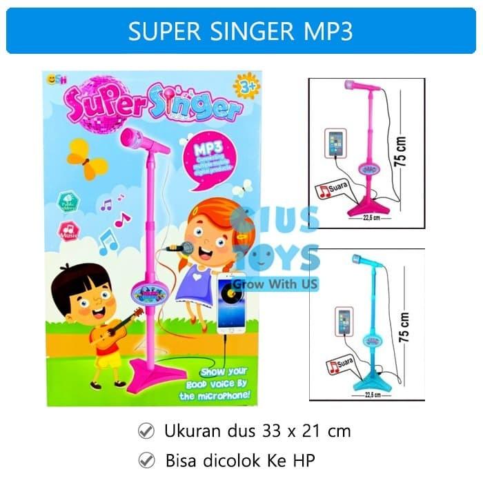 Foto Produk Microphone Super Singer MP3 Karaoke  Mainan Mik Nyanyi   Single Mic - Biru dari ciustoys