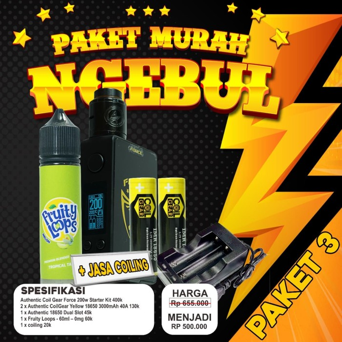 Foto Produk PAKET NGEBUL MURAH Authentic Coil Gear Force 200w Starter Kit dari VapeOi