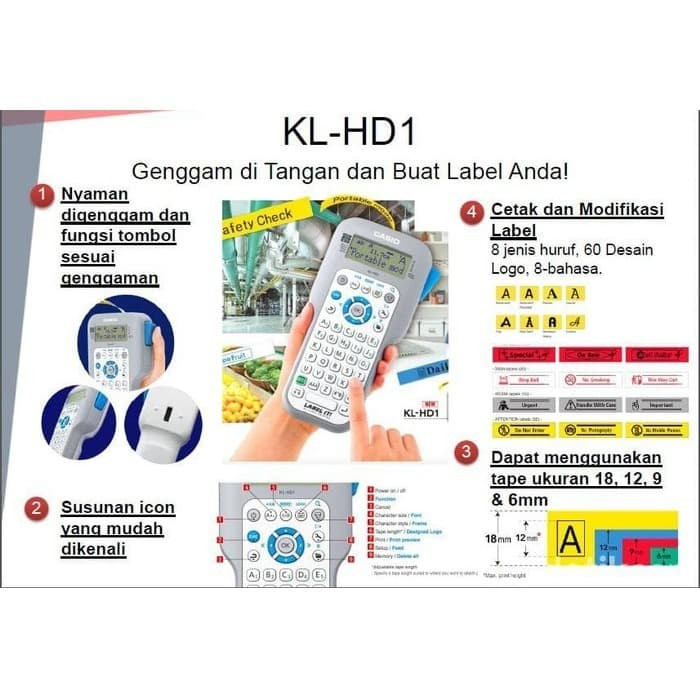 Foto Produk Label Printer Portable Casio KL-HD1 - Mesin Label Printer Casio KL HD1 dari EtalaseBelanja