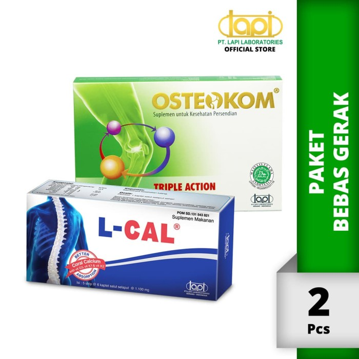 Foto Produk Paket Bebas Gerak - Osteokom Tablet 5 strip @ 6 tablet & L-Cal Tablet dari Lapi Official Shop