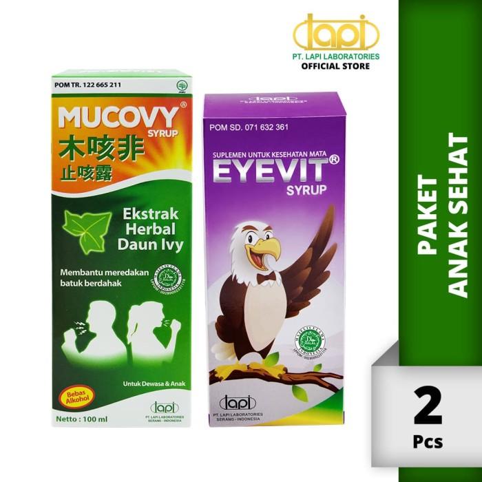 Foto Produk Paket Anak Sehat - EYEVIT Syrup Botol 60ml & Mucovy Botol 100ml dari Lapi Official Shop