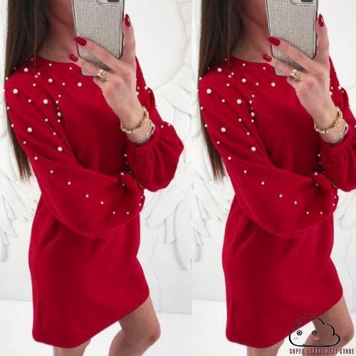 Foto Produk Dress Kasual Lengan Panjang Aksen Mutiara Bahan Kain Polyester Aneka dari PIPO KUTA01