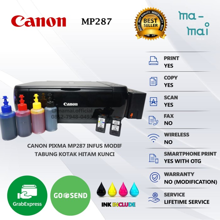 jual printer canon pixma mp287 infus multi function all in one jakarta pusat ma mai tokopedia