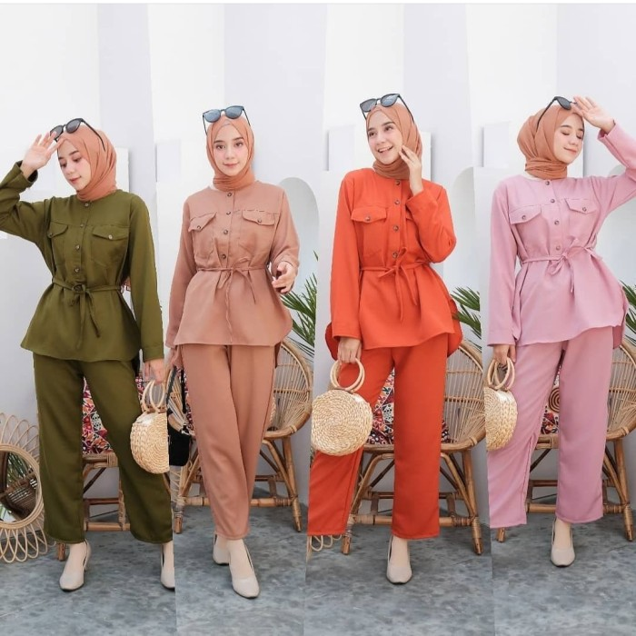 Foto Produk starla set baju dan celana/setelan muslim lebaran/setelan hijab cantik dari dewshop