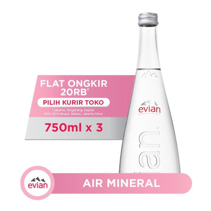 Foto Produk Evian Natural Spring Water Glass Bottle (3x750ml) dari AQUA Official Store