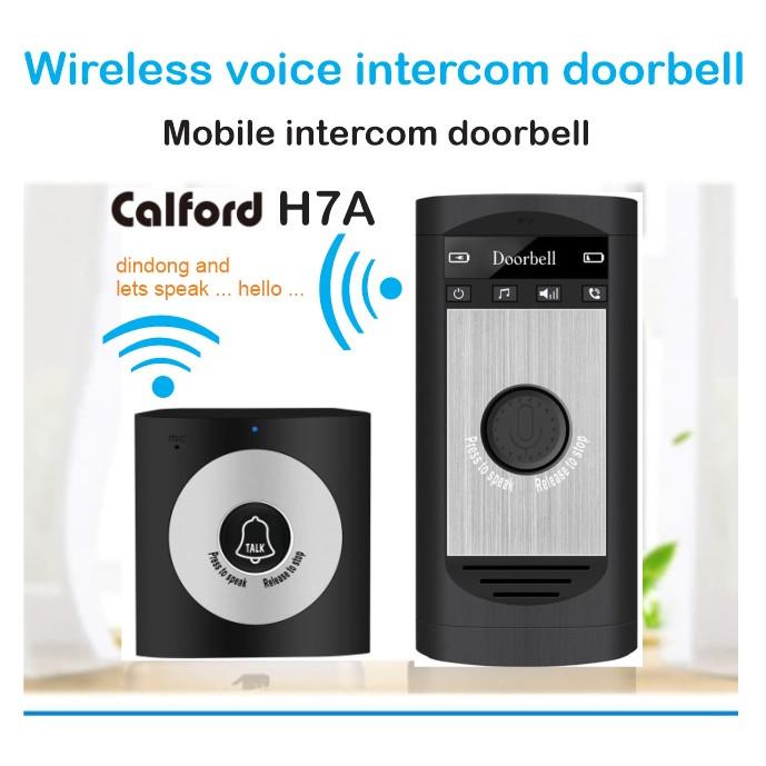 Foto Produk Bel pintu bel pagar wireless bisa interkom bicara 2 arah - Calford H7A - Hitam dari EtalaseBelanja