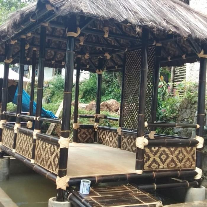 Jual Saung Bambu Murah Atap Injuk Ukuran 2x3 Kota Cimahi Pusat Gazebo Kayu Bambu Tokopedia