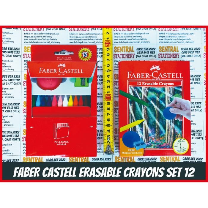 Foto Produk Faber Castell Erasable Crayons Set 12 Krayon Bisa Hapus Bonus Hapusan dari Sentral Stationery