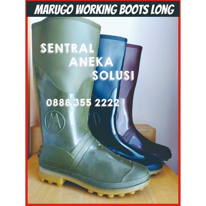 Foto Produk Marugo Long Boots Karet PVC Pole Pool 40 cm Sepatu Anti Lumpur Banjir - Merah, 41 dari Sentral Stationery