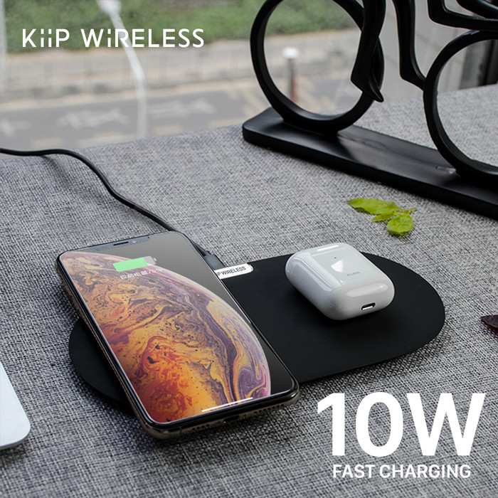 Foto Produk KIIP DUAL WIRELESS CHARGER PAD FAST CHARGING 10W - Hitam dari KIIP Official Store