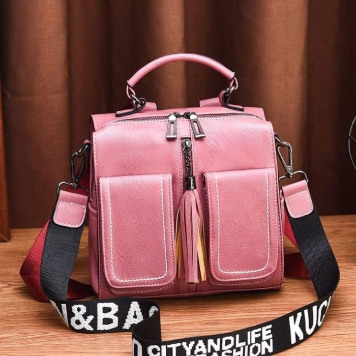 Foto Produk Ready Stok JT502-pink Tas Ransel Fashion (Bisa Selempang) dari AlMirah Olshop