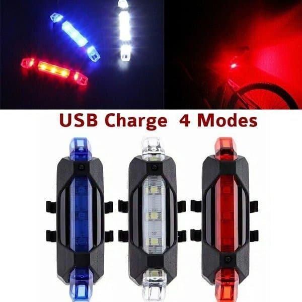 Foto Produk Lampu Sepeda Belakang LED USB Charger Waterproof / Lampu Sepeda - Merah dari AnerStore