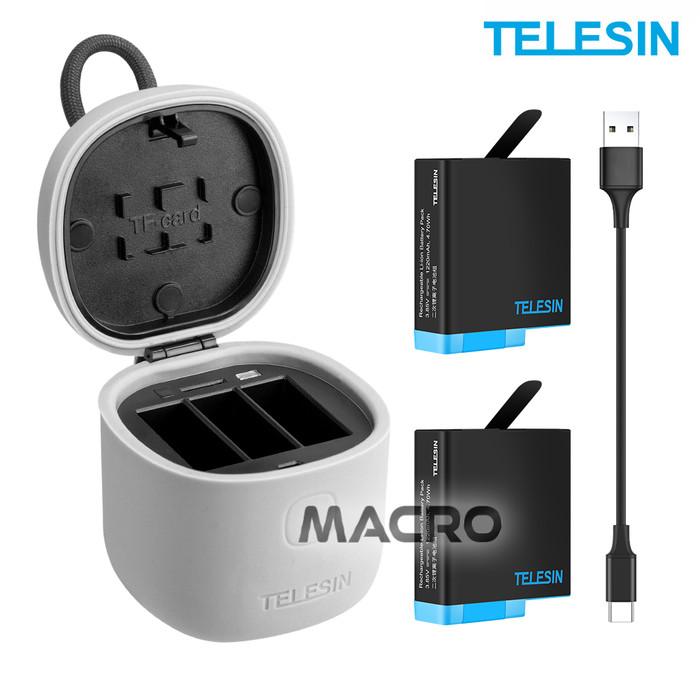 Foto Produk ALLIN BOX TELESIN 3 Slot Charger With 2-Pack Baterai Gopro Hero 8 7 6 dari MACRO