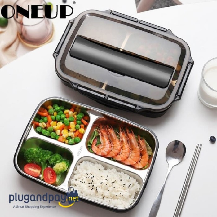 Foto Produk Kotak Makan Stainless Steel Bento Lunch Box 1000ml Tempat Makan Anak / dari plugandpay