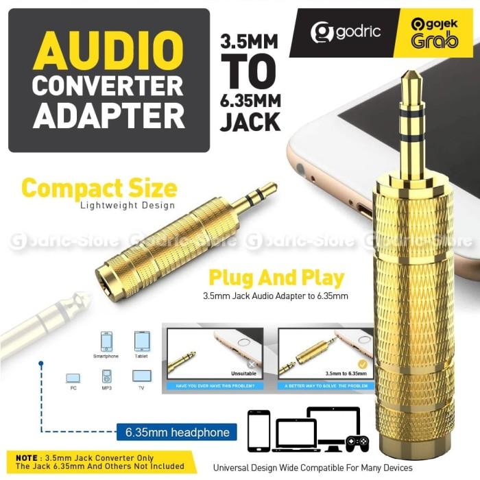Foto Produk Audio Converter Jack 6.5mm to 3.5mm Konektor Adapter Mic 6.5 3.5 mm dari Godric Store