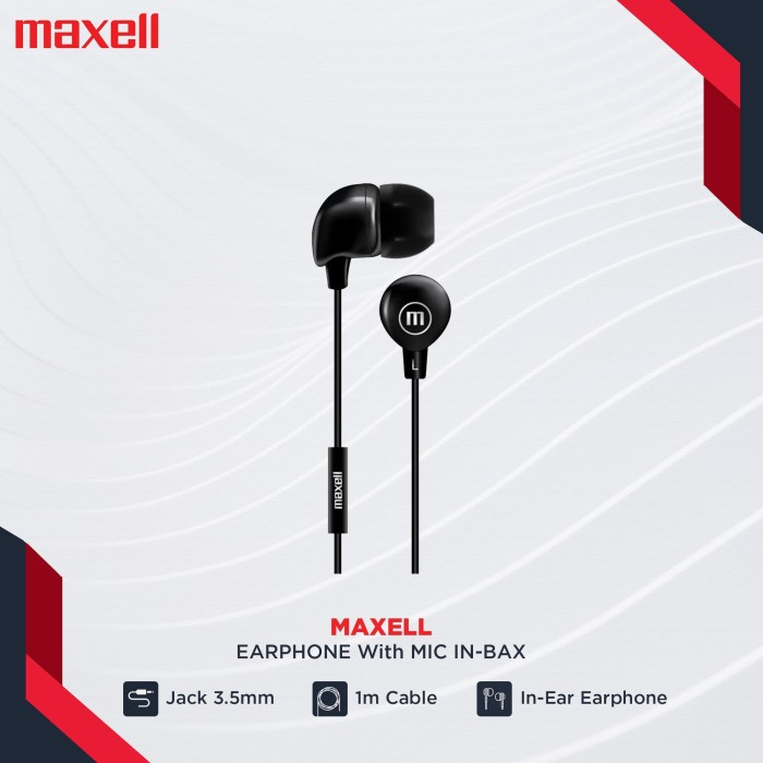 Foto Produk MAXELL EARPHONE W/MIC IN-BAX BLACK dari Maxell Official Store
