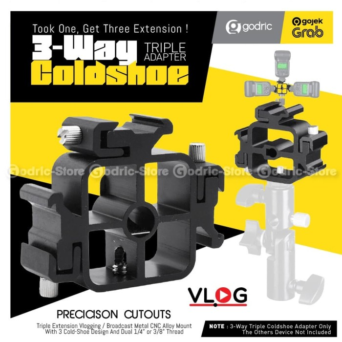 Foto Produk TRIPLE Hot Shoe Mount Adapter Converter Tripod / Light Stand / Mic LED dari Godric Store