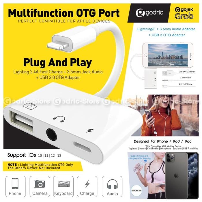 Foto Produk IOS IPHONE 3in1 Splitter Lightning Converter Jack 3.5 USB Adapter Cas dari Godric Store