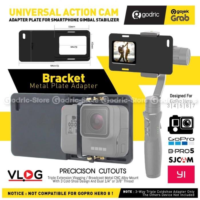 Foto Produk Smartphone Mount Plate Gimbal Adapter Action Cam Camera GoPro Xiaomi dari Godric Store