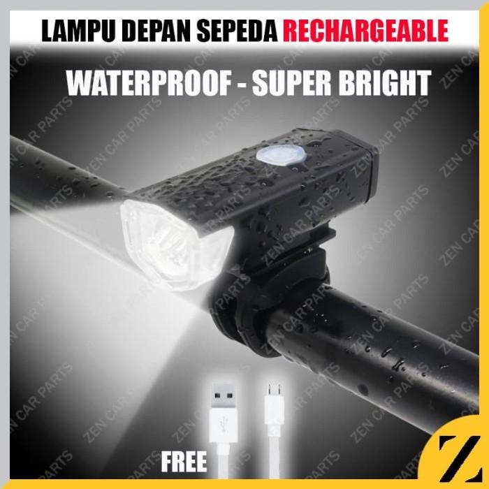 Foto Produk Lampu Depan Sepeda Rechargeable LED Lipat Slim Kedip Roadbike MTB dari Zen Car Parts