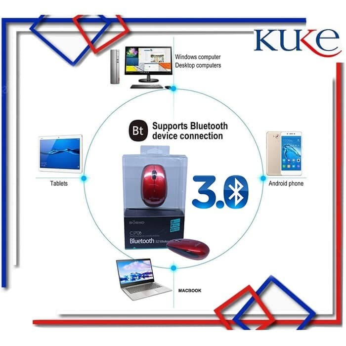Foto Produk C170B Bluetooth 3.0 Wireless Optical Mouse Support Macbook dari KUKE