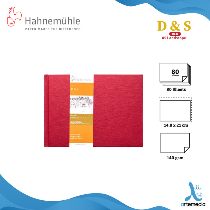 Foto Produk HAHNEMUHLE SKETCHBOOK D&S RED - PORTRAIT A5 - A5 - LANDSCAPE dari Artemedia Shop
