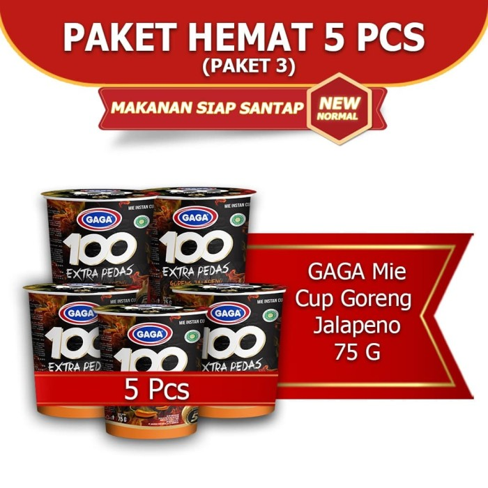 Foto Produk Mie Cup GAGA 100 Goreng Jalapeno 5 pcs (kode3) dari Gaga Official Store