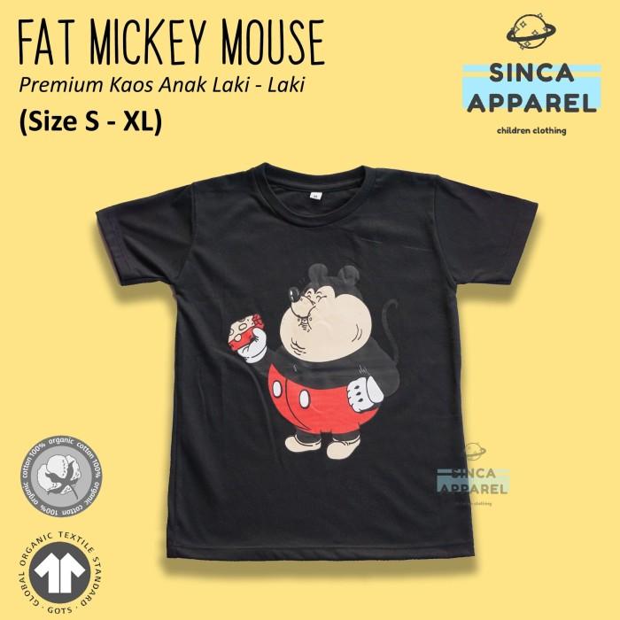 Foto Produk Baju Kaos Anak Laki - Laki Fat Mickey Mouse Lengan Pendek Premium - Size S dari Sinca Apparel