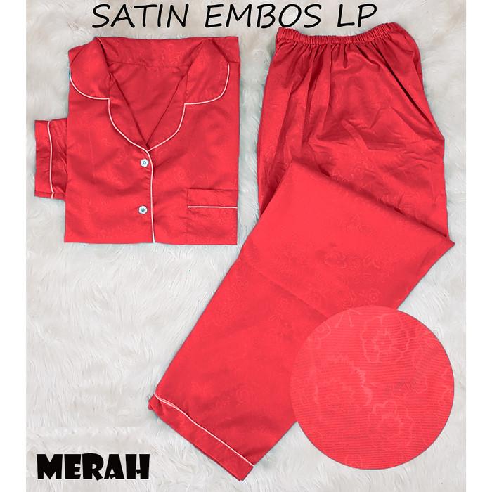 Foto Produk MIX LP PIYAMA SATIN EMBOS BAJU TIDUR CEWE PAJAMAS CEWEK LENGAN PANJANG - Merah dari RisRus Apparel